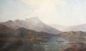 Henry Bright (1810-1873), Extensive Welsh Lakeland scene, oil on canvas, signed and dated 1858 lower