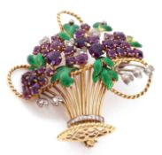 Enamel and amethyst jardiniere brooch circa 1965, the open work basket with wire work detailing,