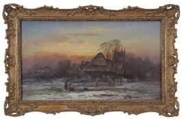 """George Augustus Williams (1814-1901), oil on canvas, """"The Homestead"""", in gilt frame, with title"""