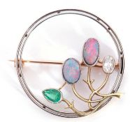 Precious metal diamond, emerald and opal brooch of openwork stylised floral design, the buds