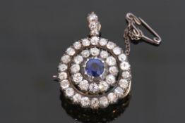 Victorian Diamond and Blue Stone Pendant/Brooch.
