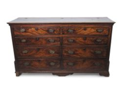 Georgian mahogany blanket box, lifting lid over four dummy drawers with four further drawers below