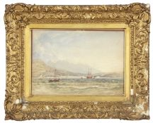 Copley Fielding, watercolour, Marine scene with mountains in background, in period gilt frame, 26