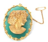 9ct gold, green agate and diamond oval brooch, the centre applied with a gold profile of a lady, her