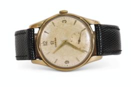 Gent's third quarter of 20th century 9ct gold cased Omega wrist watch with gold hands to a