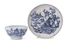 Lowestoft porcelain tea bowl and saucer decorated in underglaze blue with a printed design of a