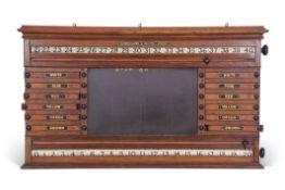 Burroughes & Watts London snooker/billiard and life pool oak scoring board circa 1890, central slate