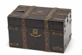 Victorian coromandel tea caddy, applied throughout with brass strapwork with vacant name plate and