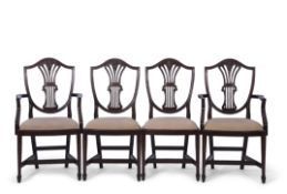 Set of eight (6+2) Hepplewhite style mahogany dining chairs with pierced and wheatsheaf carved splat