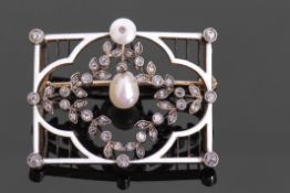 European pearl diamond and enamel brooch, of rectangular open work design, centring an articulated