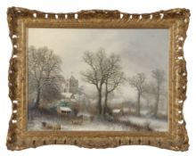 Oil on canvas of a winter scene of sheep in a field with church tower in background in period gilt