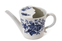 Lowestoft porcelain feeding cup decorated in underglaze blue with floral prints and butterflies, 8cm