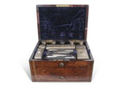 William IV rosewood ladies dressing case or vanity box, the fitted box lined with plush purple