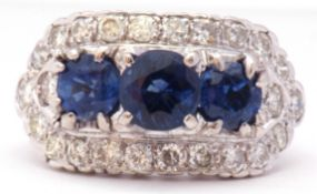 Diamond and Kyanite cluster ring circa 1960, a design featuring three graduated round cut