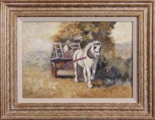 Harry Fidler, ROI, RBA (1856-1935), Figure with horse and cart, oil on canvas, initialled lower