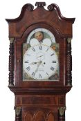 19th century mahogany longcase clock, the swan neck pediment over a painted arched dial with moon