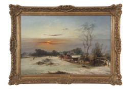 George Augustus Williams (1814-1901), oil on canvas, Winter scene with horse and cart and figures