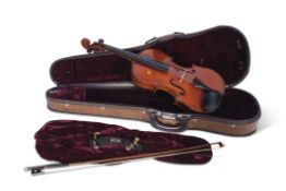 """A violin labelled """"Francois Barzoni a Chateau Thierry"""" in a modern case, with bow, 59cms long"""