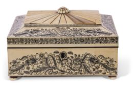 Mid-Victorian Anglo-Indian pen work decorated and bone mounted sewing box with fitted lift out