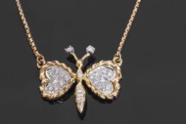 """Diamond """"butterfly"""" pendant/necklace, the outstretched wings, abdomen, thorax and antennae all set"""