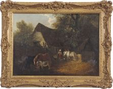 Edward Robert Smythe (1810-1899), Figures with ponies by a thatched cottage, oil on canvas, signed