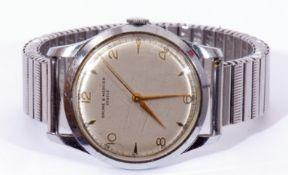 Mid-20th century Baume & Mercier Geneve stainless steel wrist watch, circular dial with outside