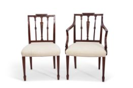Set of 4 Hepplewhite style mahogany dining chairs comprising one carver and three single chairs, all
