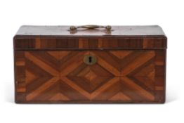 Georgian rectangular storage box, specimen wood veneered with geometric patterns to all sides, brass