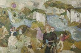 Gwyneth Johnstone (1914-2010), Figures in extensive landscapes, pair of oils on board, both