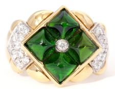 Luca Carati Italian designer ring centring a small bezel set diamond and four green square cut