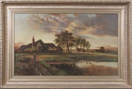 W H Davis (1786-1865), mid-19th century large oil on canvas of a country landscape scene with