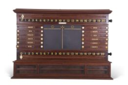 Thurston & Co Victorian snooker/billiards score board in mahogany, with life pool scoring, a
