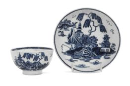 Lowestoft porcelain tea bowl and saucer decorated with a version of the fisherman pattern, the
