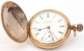 Last quarter of 19th/early 20th century Gents gold plated Waltham full hunter pocket watch with