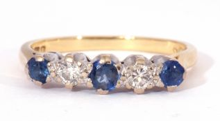 18ct gold sapphire and diamond ring, alternate set with three round graduated sapphires and two