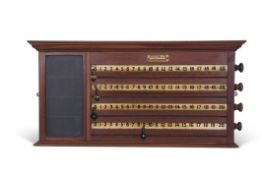 Burroughes & Watts London mahogany scoreboard, circa 1890, featuring four white rollers with black