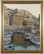 """Oil on board of a Southern Italian harbour scene, verso titled """"Pozzuoli"""" with artist's signature"""