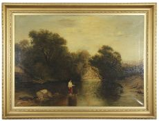 After F W Hulme (1816-1884), oil on canvas River landscape with children in foreground, in gilt