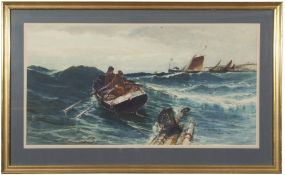 Edward John Ellis (1842-1895), watercolour, Fishing boats in stormy sea, 70 x 37cm