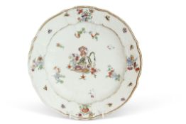 Mid-18th century Meissen plate decorated with the yellow tiger pattern to the centre, with typical