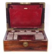 Victorian rosewood travelling dressing case, the rosewood case hinged and of rectangular form, brass
