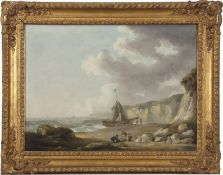 George Morland (1763-1804), early 19th century, oil on canvas of a beach and fishing scene, in