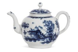 Large Lowestoft porcelain punch pot and cover decorated in underglaze blue with a pagoda pattern and