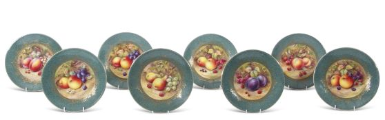 Group of eight Royal Worcester plates specially made for Aspreys, all decorated with fruit on a