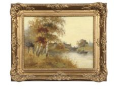 Sir Alfred East (1849-1913), River landscapes, pair of oils on canvas, both signed and dated 1896