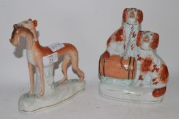 STAFFORDSHIRE MODEL OF A HOUND WITH RABBIT IN MOUTH, PLUS A STAFFORDSHIRE FIGURE