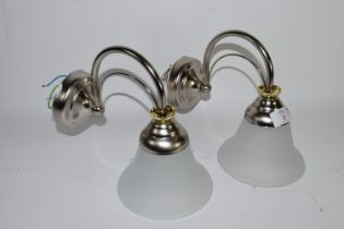 PAIR OF WALL LIGHTS WITH WHITE FROSTED SHADES