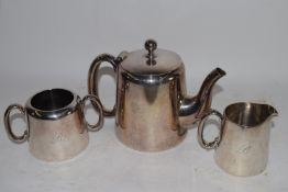 PLATED TEA SET COMPRISING TEA POT, MILK JUG AND SUGAR