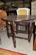 OVAL GATE LEG DROP LEAF TABLE, APPROX 110CM EXTENDED
