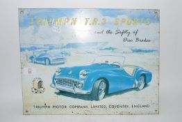 TIN ADVERTISING SIGN FOR TRIUMPH TR3 SPORTS